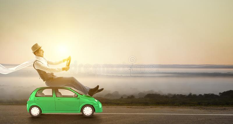Happy travelling on toy vehicle royalty free stock photos