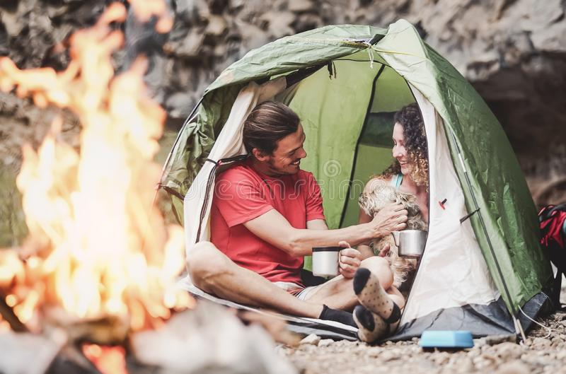 Happy trekker couple camping tent with dog next bonfire - Hipster man and woman having fun mountaineering together stock images