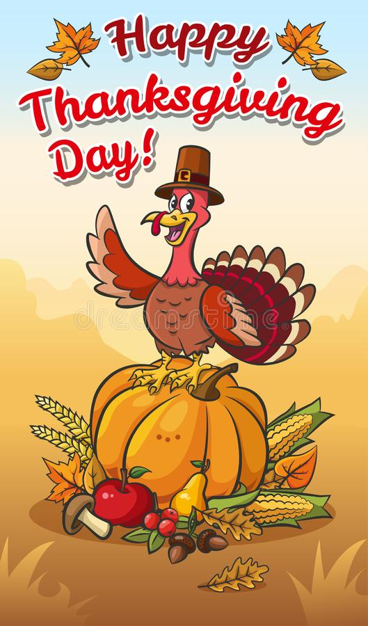 Happy thanksgiving day illustration.Turkey in pilgrim hat on the pumpkin with vegetables and fruits. stock illustration