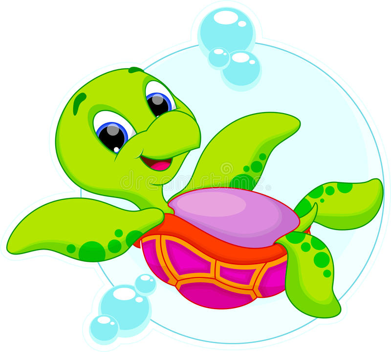 Happy turtle catoon. Cute turtle is swimming upside down