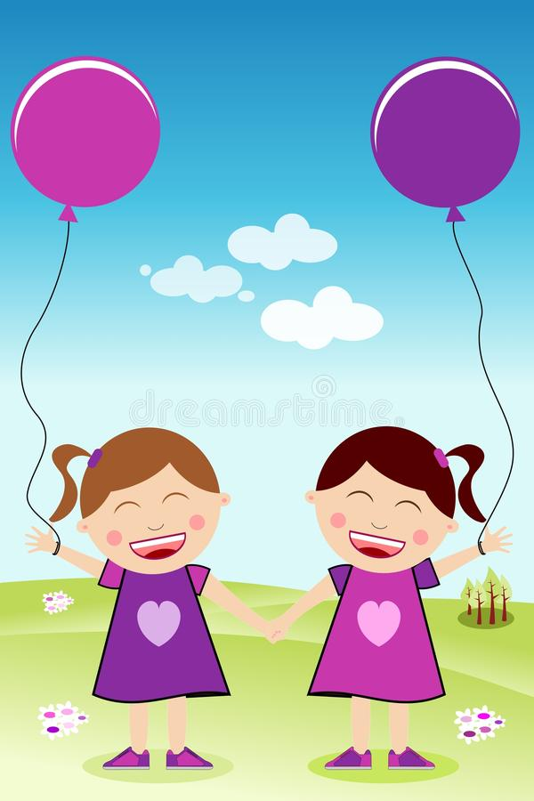 Happy Twins Hand in Hand with Balloons stock illustration