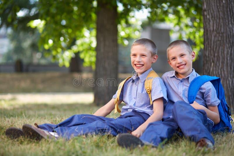 Happy twins stock photos