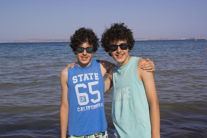 Happy twins in Chios Island,Greece stock images