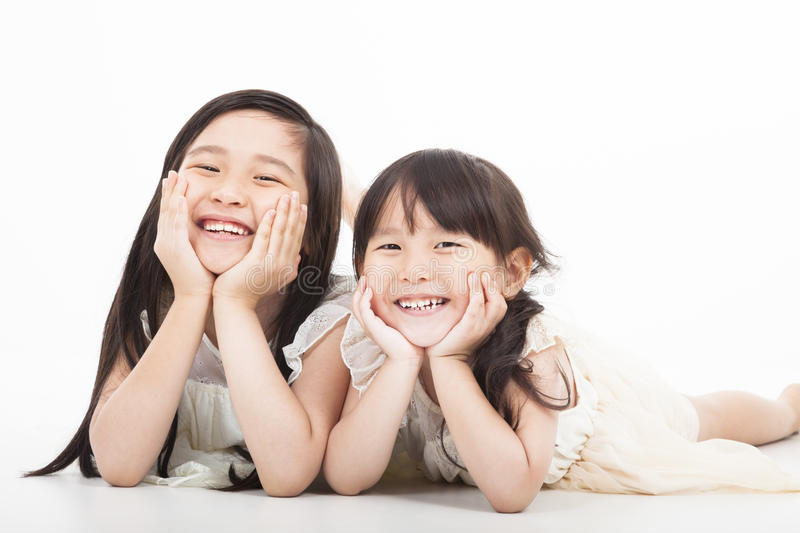 Happy two asian girls royalty free stock photos