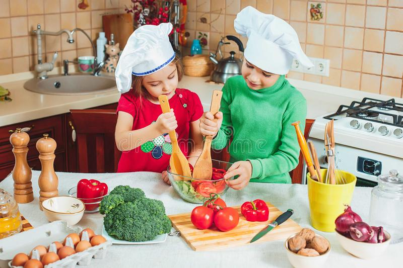 Happy family funny kids are preparing the a fresh vegetable salad in the kitchen stock photography