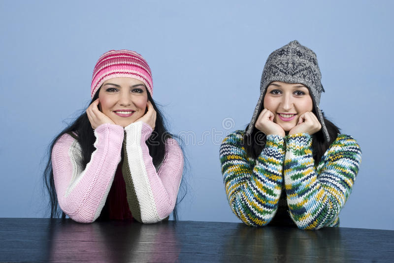 Download Happy two girls staring stock photo. Image of brunette - 12085582