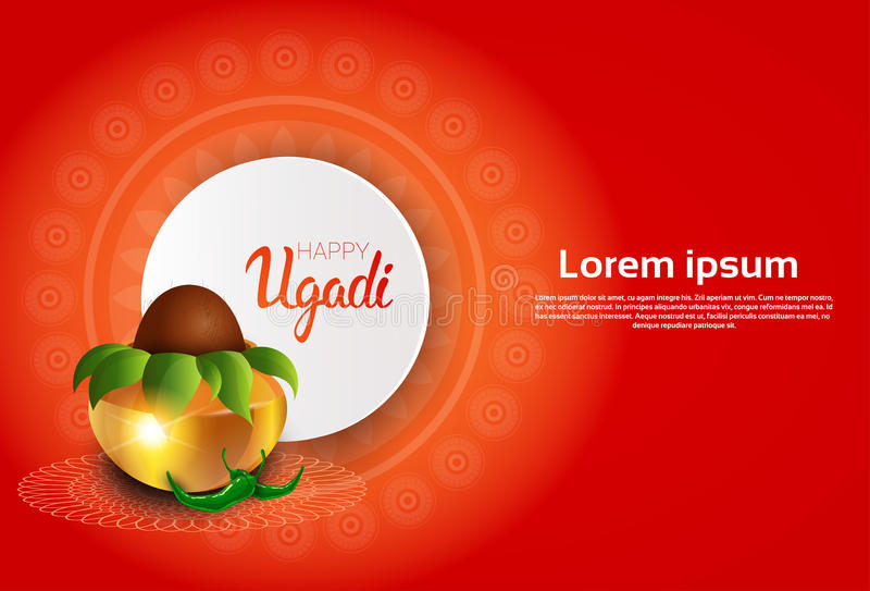 Happy ugadi and gudi padwa hindu new year greeting card holiday pot download happy ugadi and gudi padwa hindu new year greeting card holiday pot with coconut stock m4hsunfo