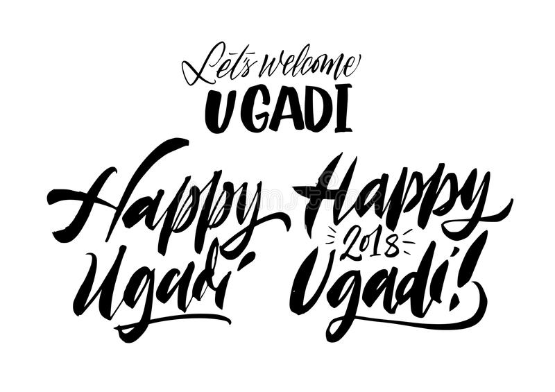Happy Ugadi lettering set. New Year`s Day of Hindu calendar hand stock illustration