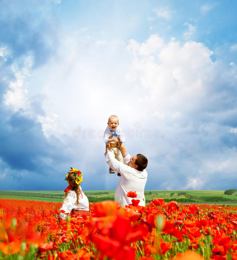 Happy ukrainian family on the field stock image