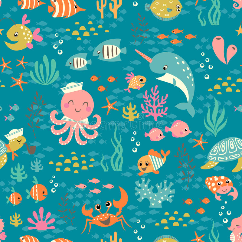 Happy underwater life pattern stock illustration