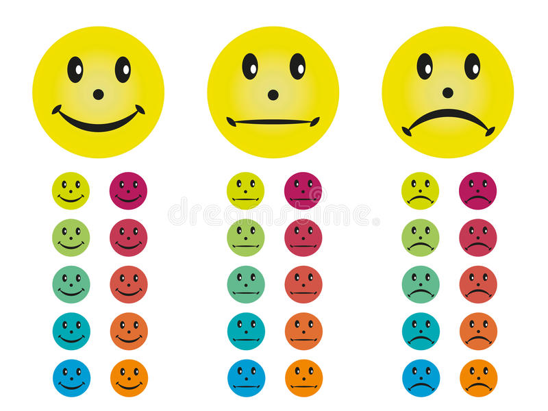 Smileys in different colors royalty free stock photos