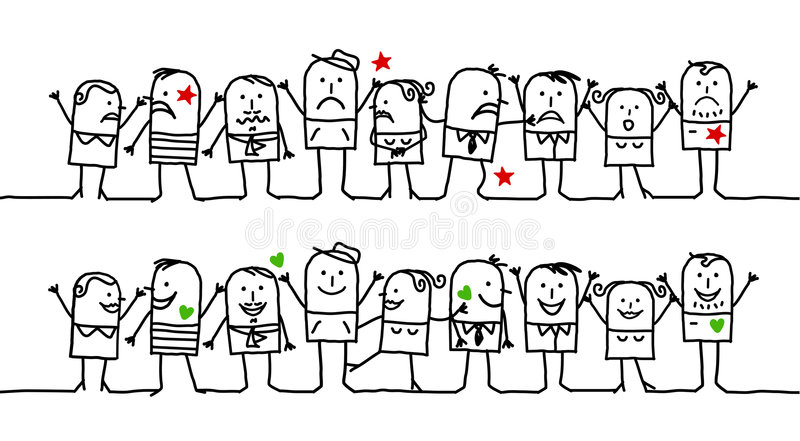 Happy & unhappy people. Vector hand-drawn characters on line stock illustration