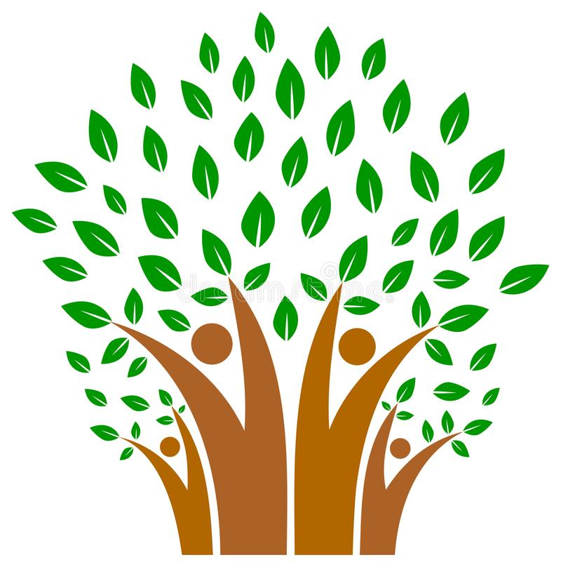 Unity in family of people tree logo vector illustration