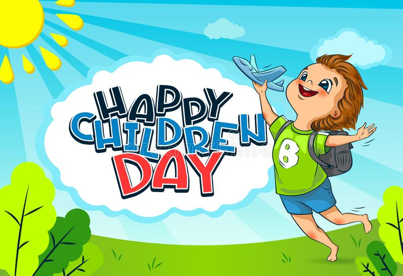 Happy Universal Children Day holiday. The cute little boy launches a toy plane stock images