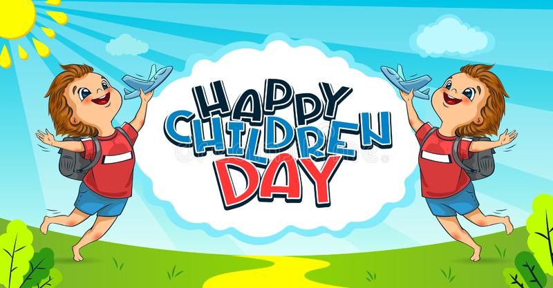 Happy Universal Children Day holiday. The cute little boys launches a toy planes. Lettering. Vector stock photo