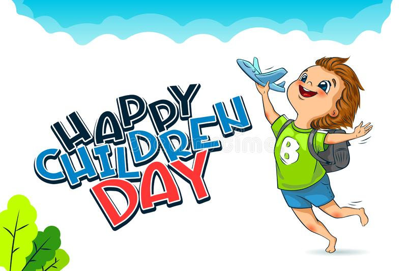 Happy Universal Children Day holiday. Lettering. The cute little boy launches a toy plane. Vector royalty free stock photos
