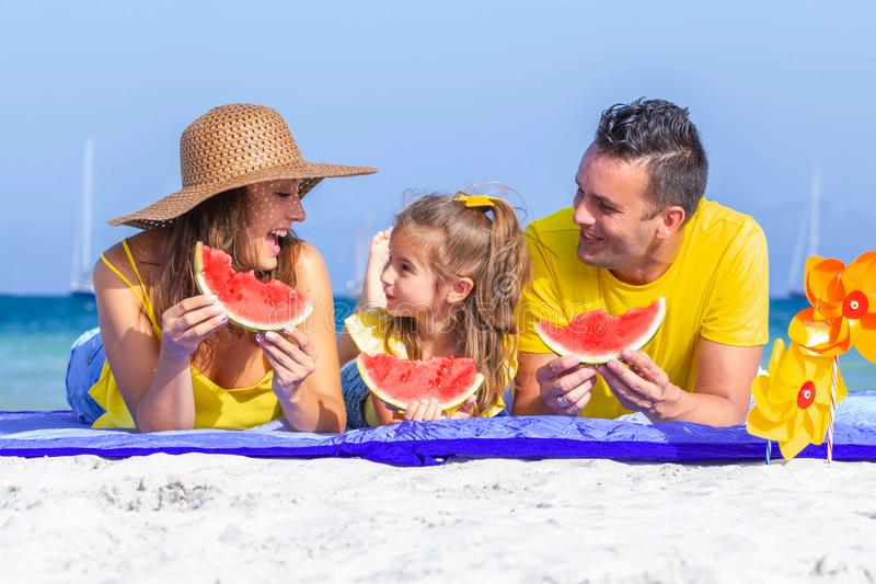 Happy healthy family vacations royalty free stock image