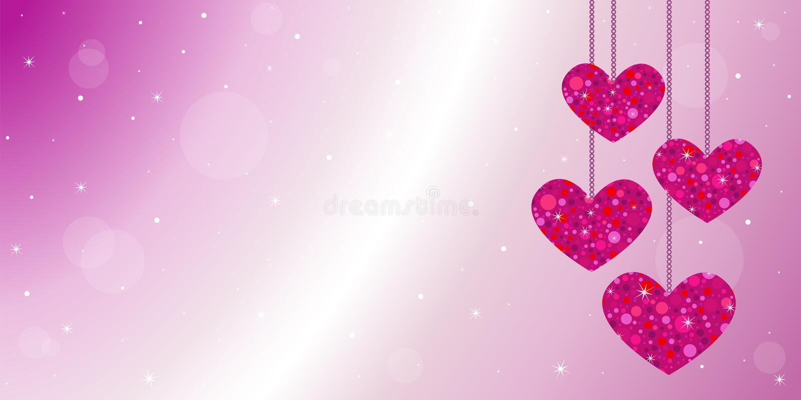 Happy Valentine's day card background with hanging red glitter hearts stock illustration
