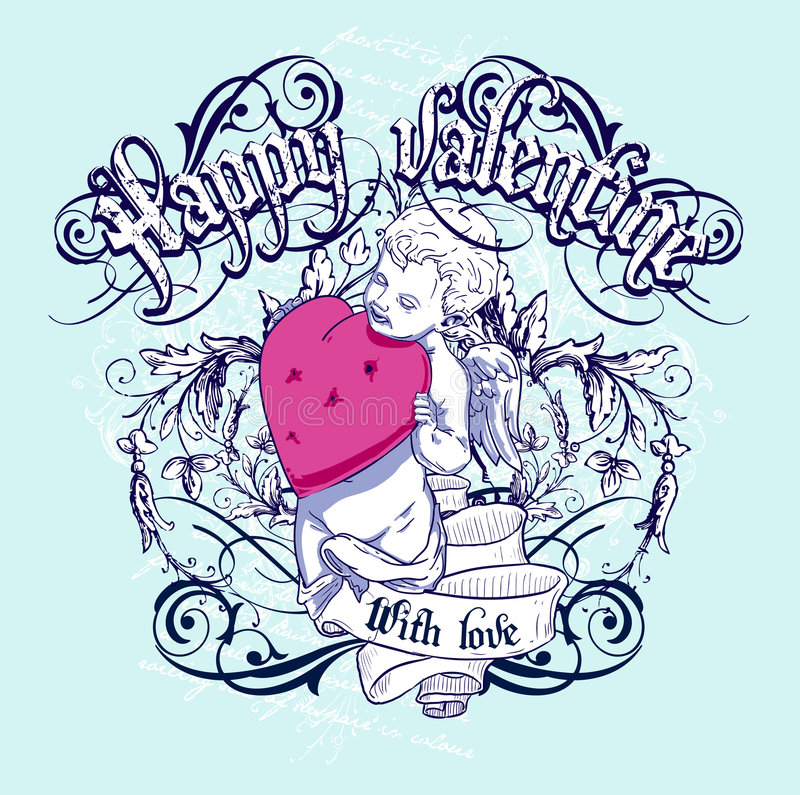 Happy Valentine. Valentine vector t-shirt design stock illustration