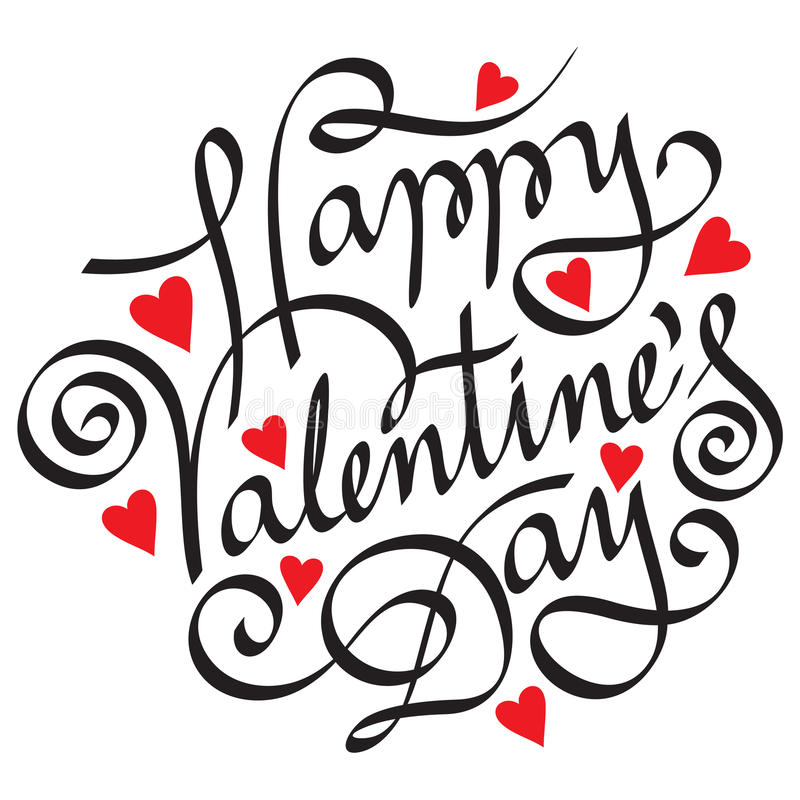 Happy valentine day. Hand lettering happy valentine day vector illustration