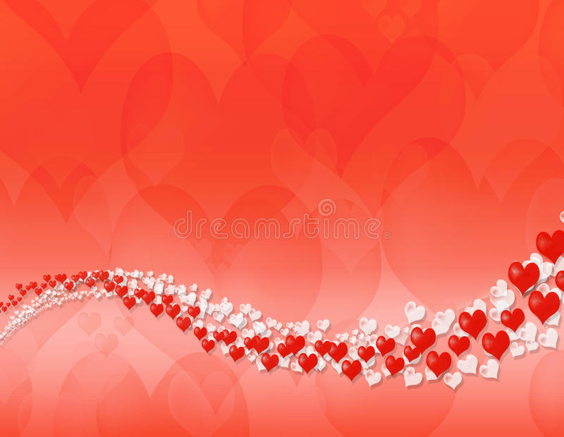 Happy valentine day abstract background. Red and white hearts on red stock illustration