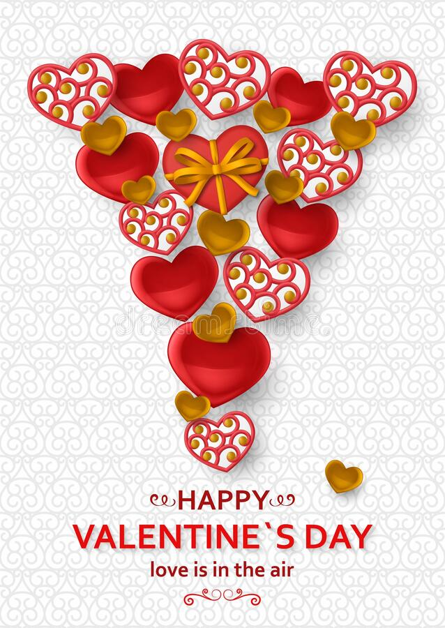 Happy Valentine Day background with glossy hearts. Greeting card and Love template. Vector illustration vector illustration