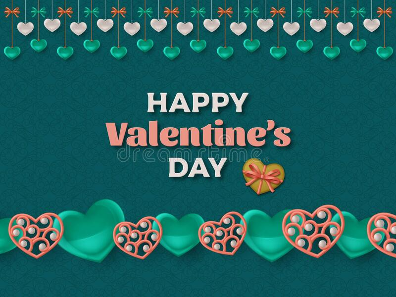Happy Valentine Day background with glossy hearts. Greeting card and Love template. Vector illustration stock illustration