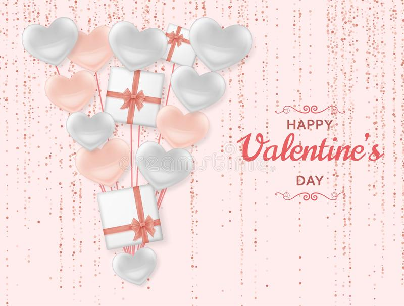 Happy Valentine Day background with shiny and glossy hearts. Pastel pink glitter and confetti. Greeting card and Love. Template. Vector illustration vector illustration