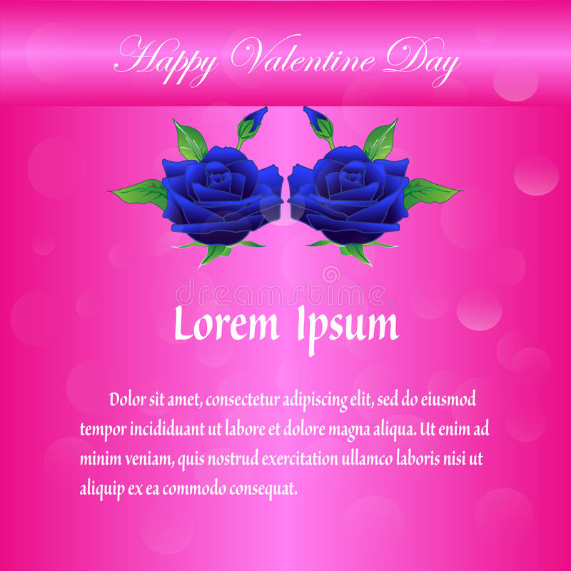 Happy Valentine Day With Blue Rose On Pink Background Stock Vector ...