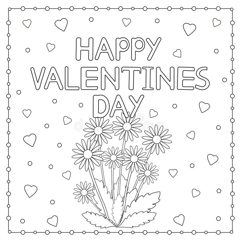 Happy Valentine Day Card With Flowers And Hearts Coloring Page