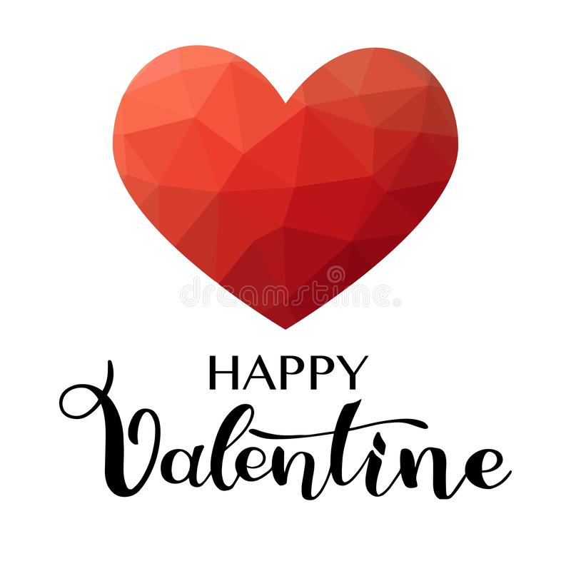 Happy valentine day card. With hand draw lettring stock illustration