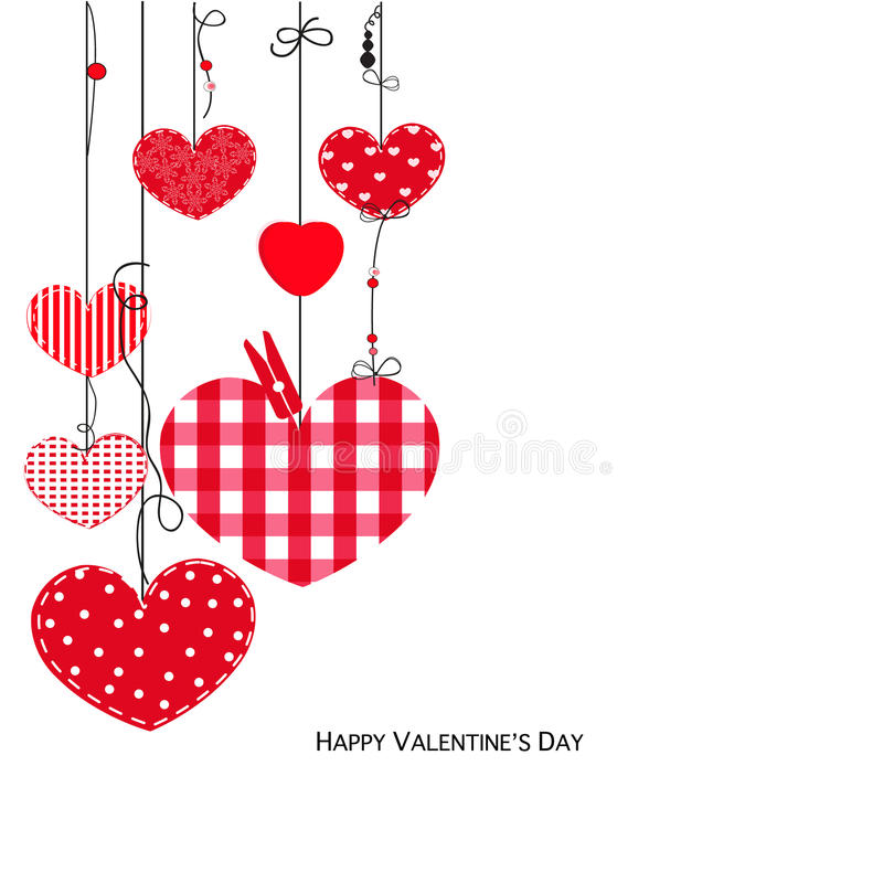 Happy Valentine Day card with hanging love hearts. Vector background royalty free illustration