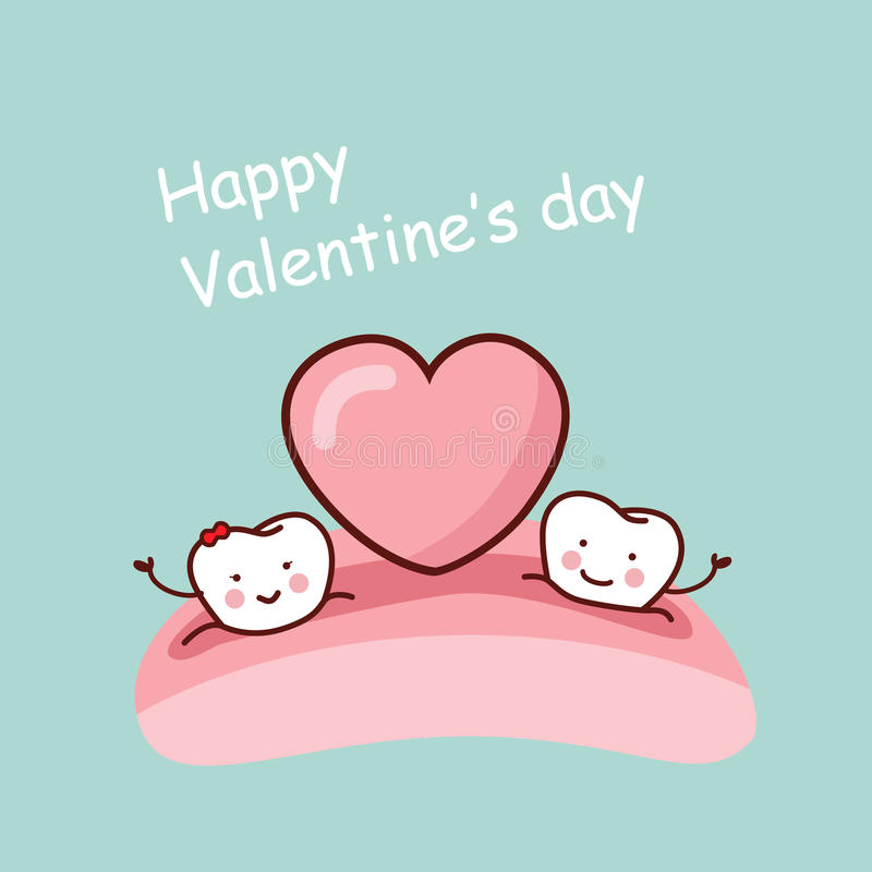 Happy Valentine day. Happy cartoon tooth with love heart, great for health dental care concept stock illustration
