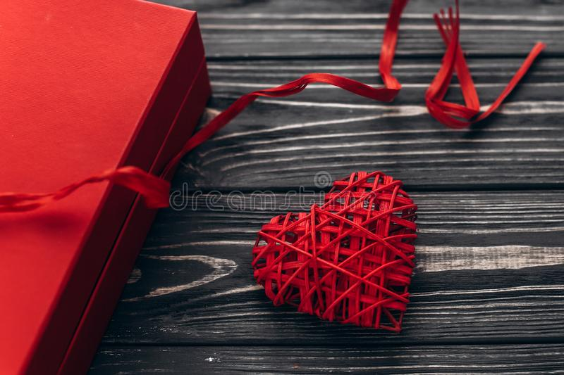 Happy valentine day concept. stylish present and heart with rib stock photo