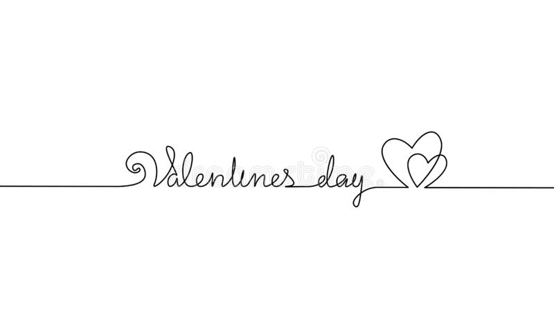 Happy Valentine Day continuous one line art. Hand drawn sketch romantic date greeing holiday card. Two love heart shape. Lineart minimalistic lettering vector royalty free illustration