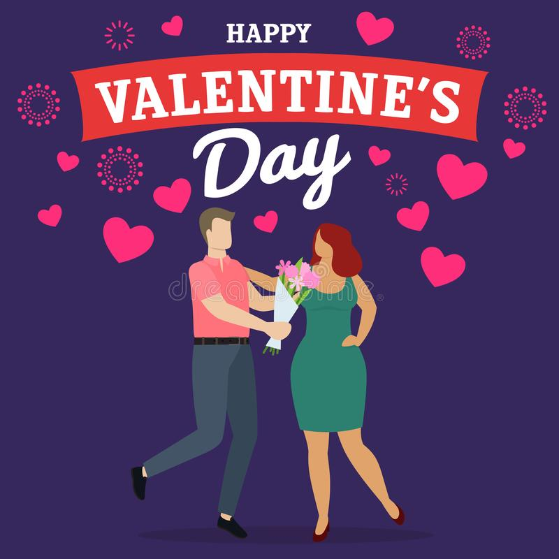 Happy Valentine Day. Couple of happy man and woman celebrate Valentine`s Day, give presents and have fun. Vector stock illustration
