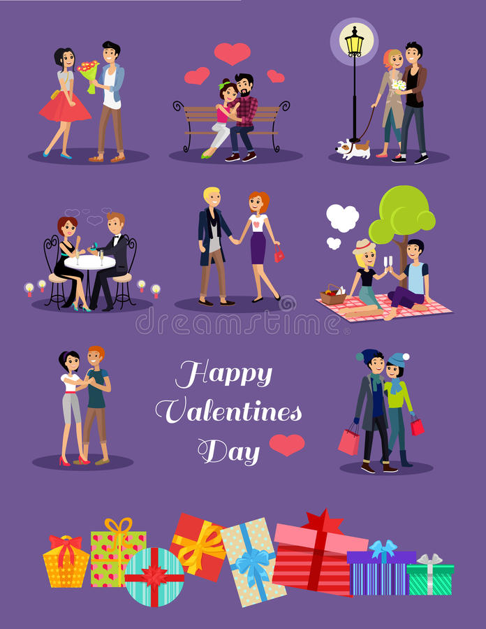 Happy Valentine Day Couple Set. Happy valentine day couple on date. Couple lover on valentine day, happy valentine, couple in love young couple, shopping love royalty free illustration