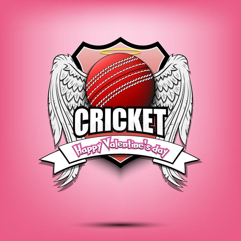 Happy Valentine day and Cricket. Happy Valentine day. Cricket logo template design. Cricket ball with wings and nimbus. Pattern for banner, poster, greeting card vector illustration