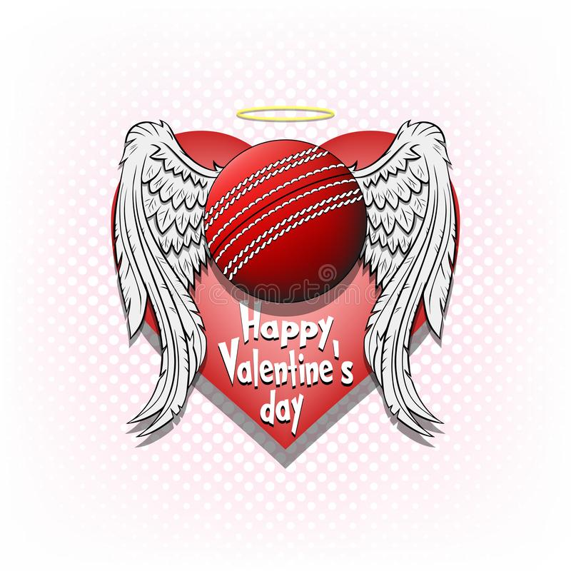 Happy Valentine day and Cricket. Happy Valentine day. Cricket logo template design. Cricket ball with wings and nimbus. Pattern for banner, poster, greeting card stock illustration