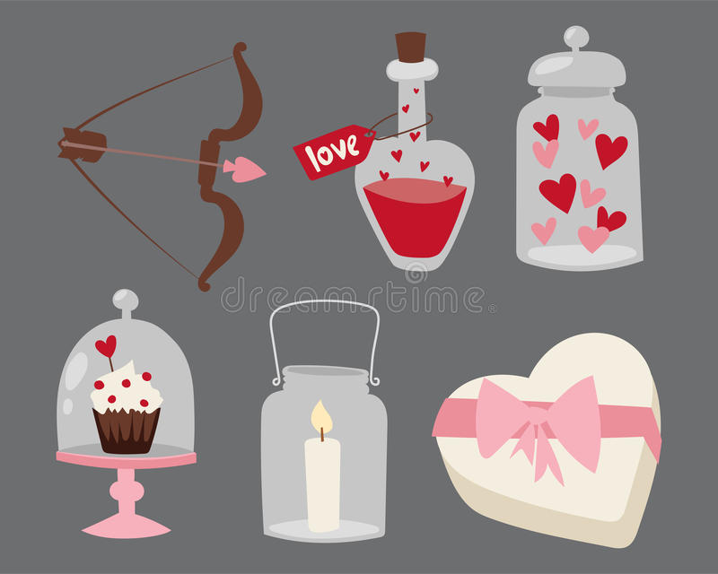 Happy valentine day flat design love wedding items and heart love romance celebration vector illustration. Happy valentine day objects isolated flat design love stock illustration