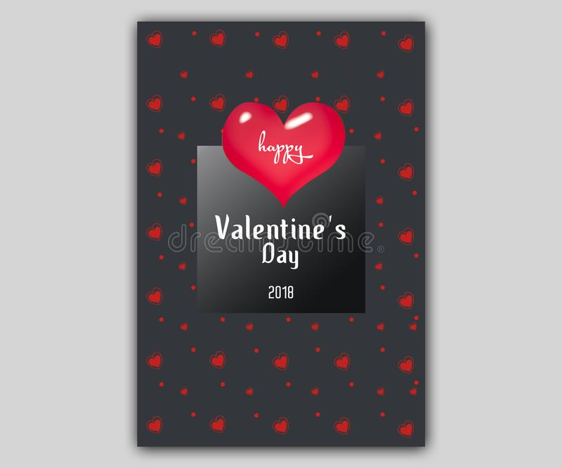 Happy valentine day flayer template with small heart background. 14 February banner set with decorative hearts royalty free illustration