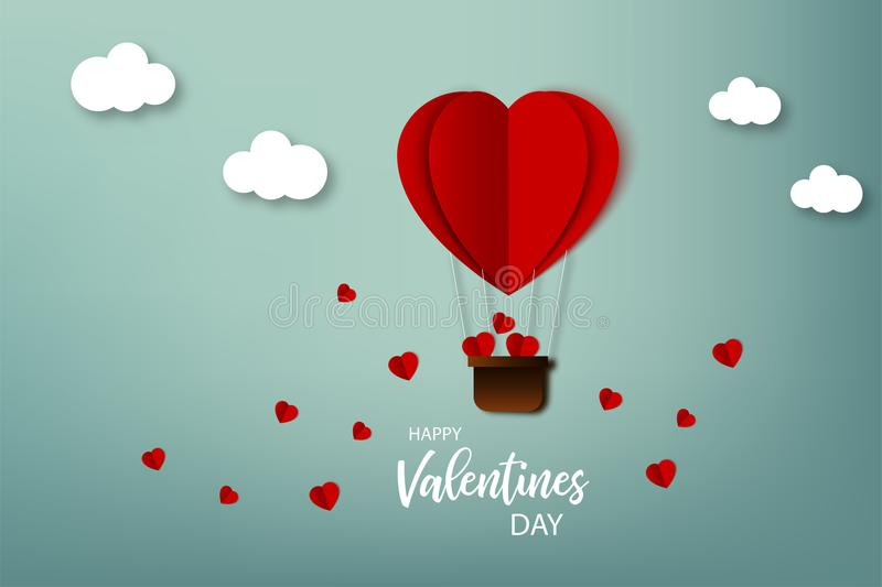 Happy Valentine day. Greeting card. Air balloon with hearts flying on the sky in origami style. Vector illustration in paper desig vector illustration