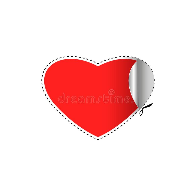 Happy Valentine is Day greeting card blank template, love sticker in the shape of a red heart with a cut line with scissors royalty free illustration