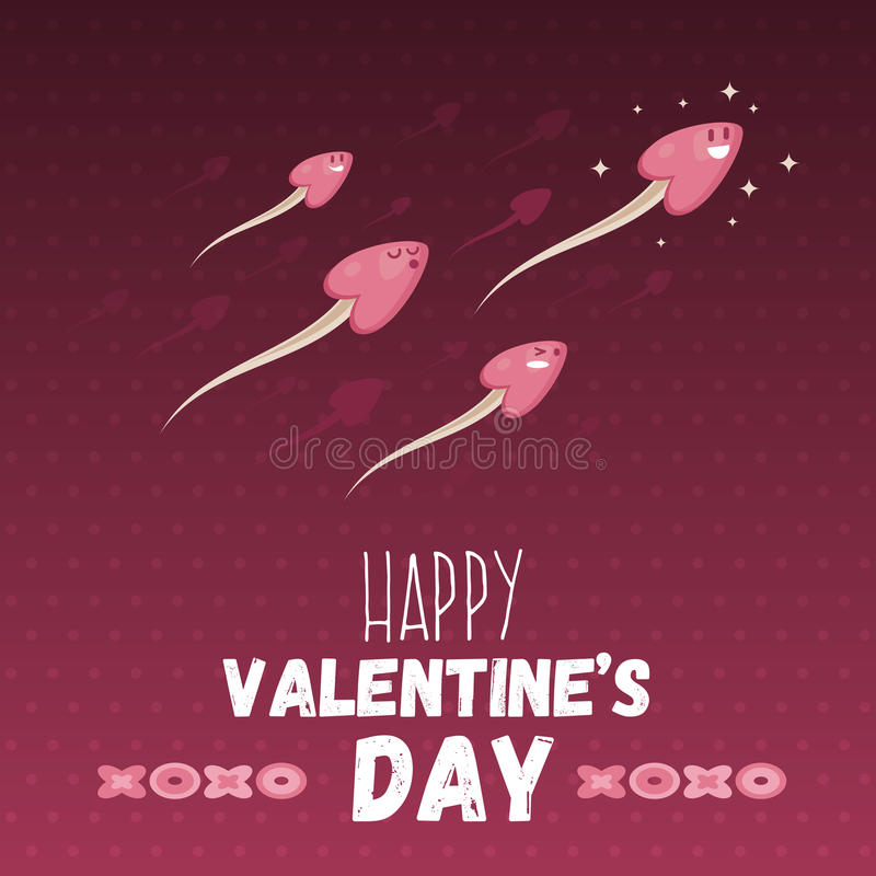 Happy valentine day greeting card with heart headed sperm. Holiday web banner. Love symbol ironic postcard template background. V royalty free illustration