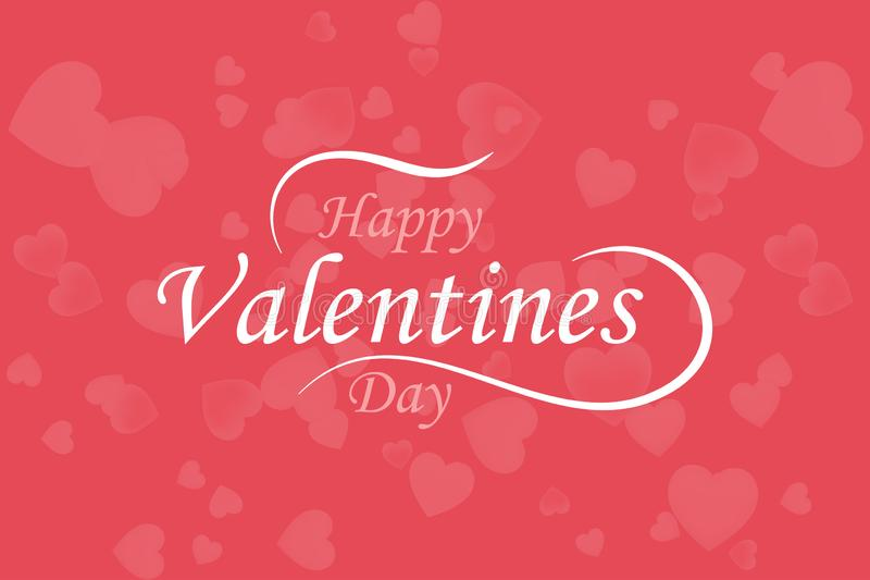 Happy Valentine Day. Greeting card of love with pink hearts and font inscription. Flat vector illustration EPS10 vector illustration