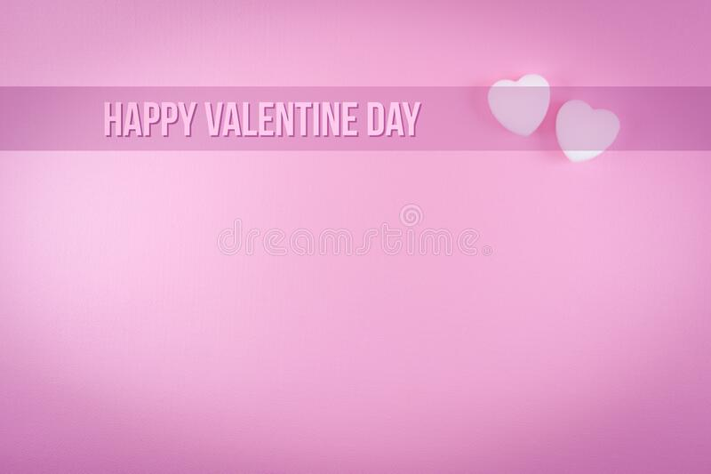 Happy valentine day greeting card or postcard template with two white heart shape and text on pink background royalty free stock photography