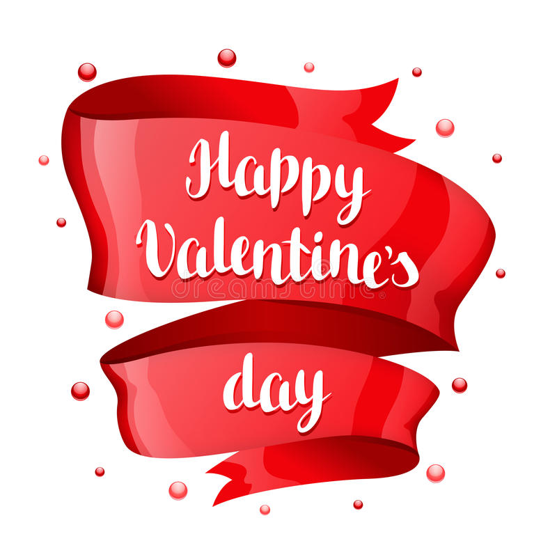 Happy Valentine day greeting card. With Red shiny ribbon stock illustration