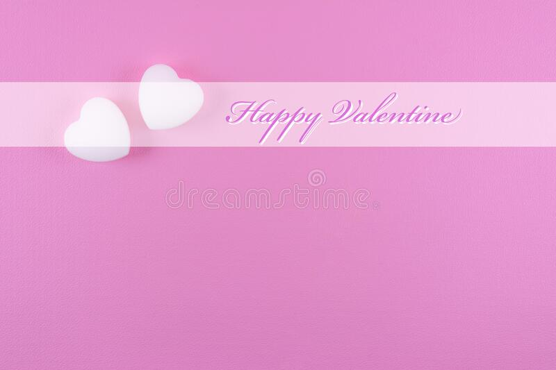 Happy Valentine day greeting card template with text and heart shape ornament on pink background stock photos