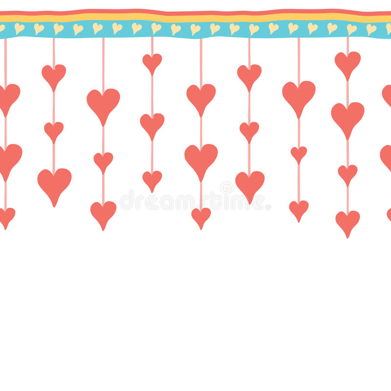 Happy Valentine day. Hand drawn border. Happy Valentine day. Heart hand drawn frame. Celebration red background with hearts and place for your text. Vector royalty free illustration