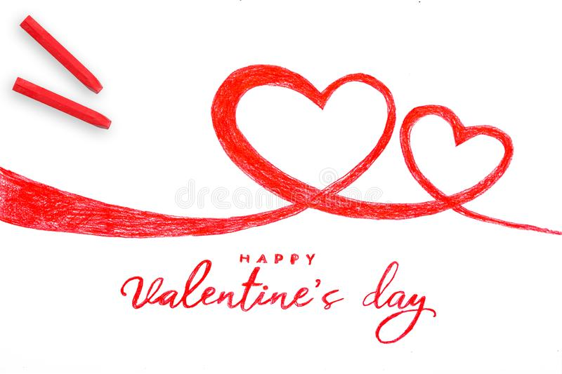 Happy valentine day hand painting two heart stock illustration